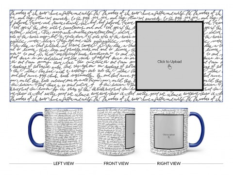 Cursive Writing Background With Square Pic Upload Design On Dual Tone Blue Mug