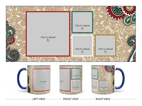 Traditional Background With 4 Pic Upload Design On Dual Tone Blue Mug