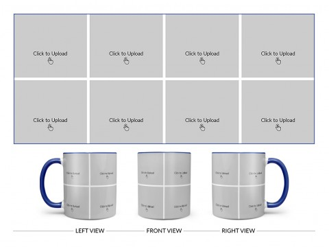 8 Pic Upload Design For Any Occasions & Event Design On Dual Tone Blue Mug