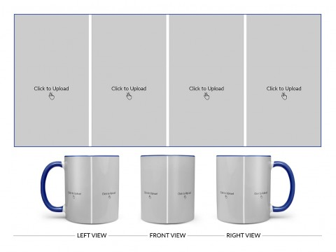 4 Vertical Pic Upload Design For Any Occasions & Event Design On Dual Tone Blue Mug
