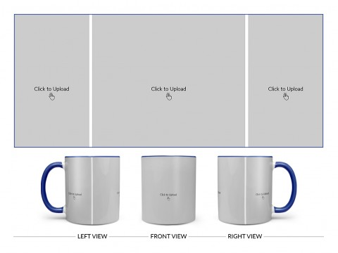 3 Vertical Pic Upload Design For Any Occasions & Event Design On Dual Tone Blue Mug