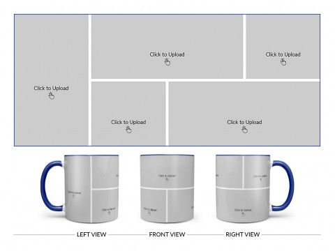 5 Pic Upload Design For Any Occasions & Event Design On Dual Tone Blue Mug