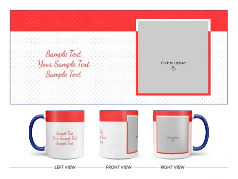 Dotted Pattern Background With Red border Design On Dual Tone Blue Mug
