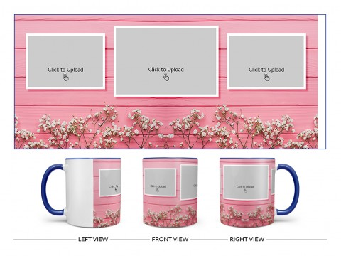 Wooden Wall With Small Flowers 3 Pic Upload Design On Dual Tone Blue Mug