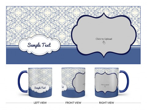 Flower Pattern Background With Dark Blue Border Design On Dual Tone Blue Mug
