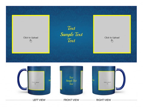 Dark Blue Flower Pattern Background With Yellow border Design On Dual Tone Blue Mug