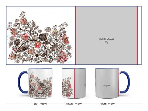 Artisic Design On Dual Tone Blue Mug