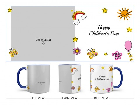 Childrens Day With Cartoon Objects Design On Dual Tone Blue Mug