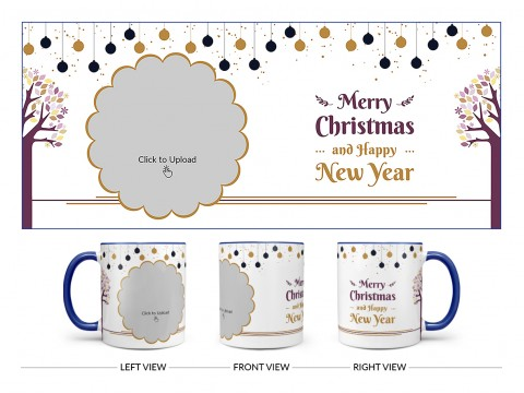 Merry Christmas And Happy New Year Design On Dual Tone Blue Mug