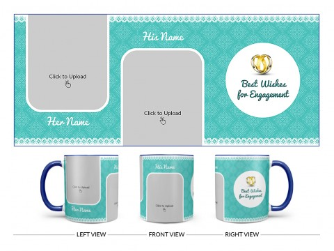 Best Wishes For Engagement With Couple Pic Upload Design On Dual Tone Blue Mug