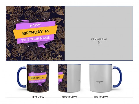 Happy Birthday With Gold Floral Background Design On Dual Tone Blue Mug