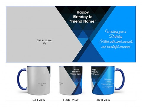 Wishing You A Birthday Filled With Sweet Moments Quote Design On Dual Tone Blue Mug