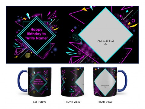 Friend Birthday Colourful DJ Background Design On Dual Tone Blue Mug