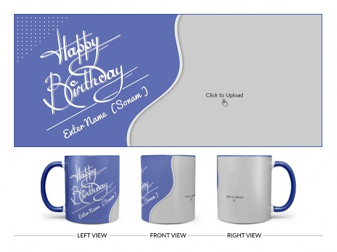 Blue Wave Design With Happy Birthday Text Design On Dual Tone Blue Mug