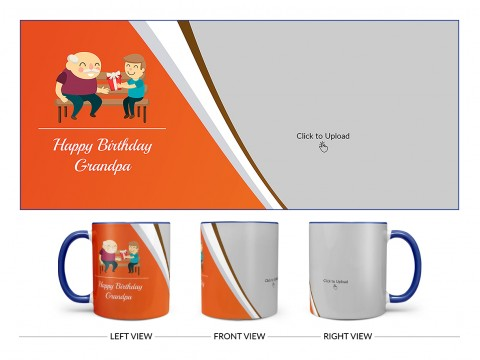 Happy Birthday Grandpa Design On Dual Tone Blue Mug