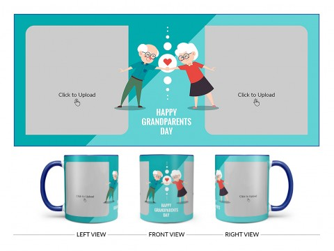 Grandparents Day With 2 Pic Upload Design On Dual Tone Blue Mug