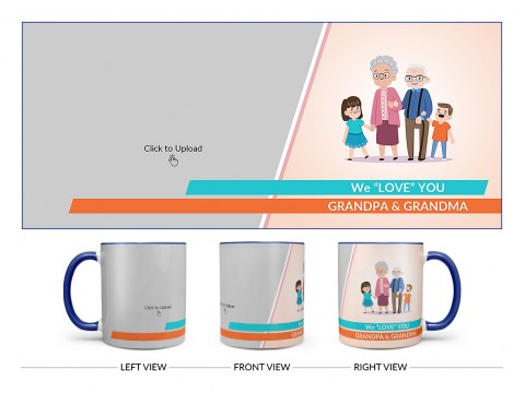 Grand Parents With Grand Children's Design On Dual Tone Blue Mug