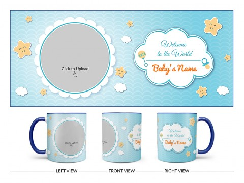 Welcome To The World Design On Dual Tone Blue Mug
