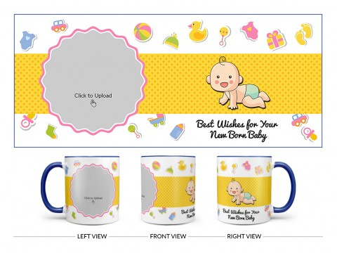 Best Wishes For Your New Born Baby Design On Dual Tone Blue Mug