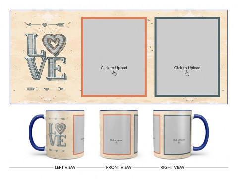 Vintage Background With Love Text Design On Dual Tone Blue Mug