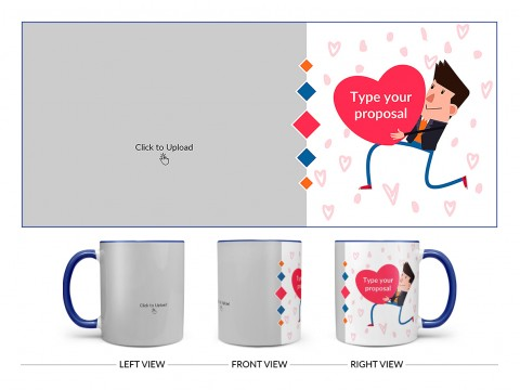 Proposal Design On Dual Tone Blue Mug