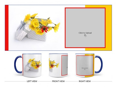 Yellow Color Flowers in Basket Design On Dual Tone Blue Mug