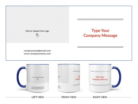 Company Mug With Custom Message Design On Dual Tone Blue Mug