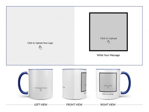 Company Mug With Photo Design On Dual Tone Blue Mug