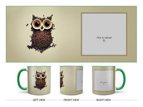 Coffee Beans For Coffee Lovers Design On Dual Tone Green Mug