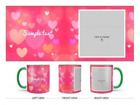 Heart Symbols With Dark Pink Background Design On Dual Tone Green Mug