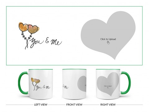 You & Me Design On Dual Tone Green Mug