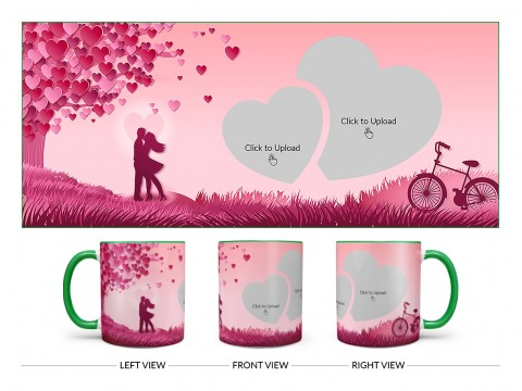 Young Couple In Love World Design On Dual Tone Green Mug