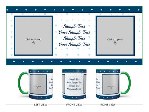 Dark Blue Love Symbols borders With Love Symbol Background Design On Dual Tone Green Mug