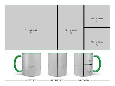 4 Pic Upload Upload Design For Multiple Occasions Design On Dual Tone Green Mug