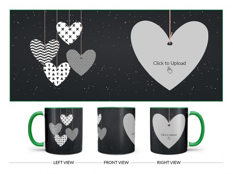 Heart Symbols Hanging In The Sky With Stars Background Design On Dual Tone Green Mug