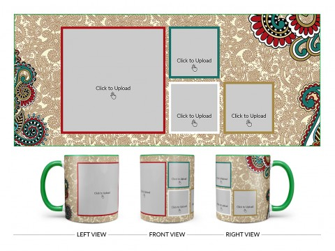 Traditional Background With 4 Pic Upload Design On Dual Tone Green Mug