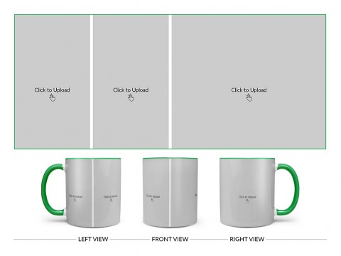 3 Pic Upload Design For Any Occasions & Event Design On Dual Tone Green Mug