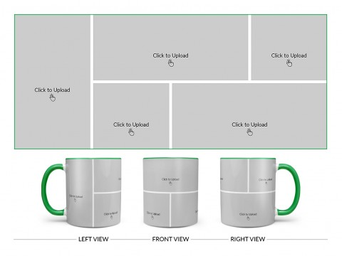 5 Pic Upload Design For Any Occasions & Event Design On Dual Tone Green Mug