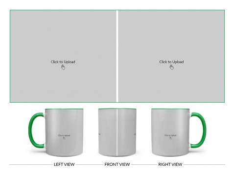 2 Large Pic Upload Design For Any Occasions & Event Design On Dual Tone Green Mug