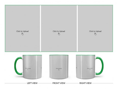 3 Equal Pic Upload Design For Any Occasions & Event Design On Dual Tone Green Mug