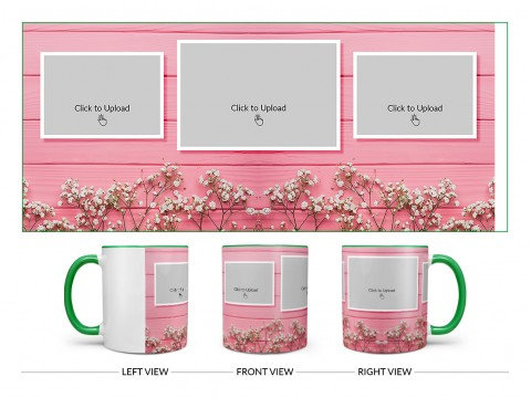 Wooden Wall With Small Flowers 3 Pic Upload Design On Dual Tone Green Mug