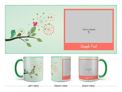 Birds On Tree Branch With Light Green Love Symbols Background Design On Dual Tone Green Mug