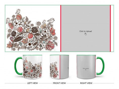 Artisic Design On Dual Tone Green Mug