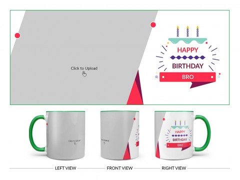 Brother's Birthday With White Background Design On Dual Tone Green Mug