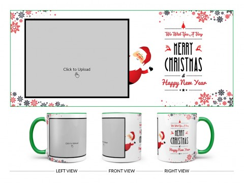 We Wish You A Very Merry Christmas Design On Dual Tone Green Mug