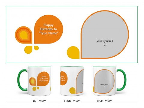 Happy Birthday Design On Dual Tone Green Mug