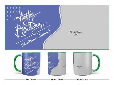 Blue Wave Design With Happy Birthday Text Design On Dual Tone Green Mug