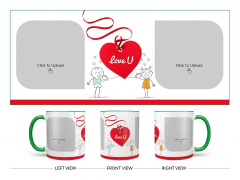 Love You Tag Design On Dual Tone Green Mug