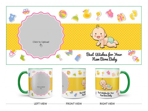 Best Wishes For Your New Born Baby Design On Dual Tone Green Mug