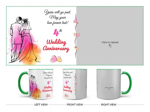 Wedding Anniversary Design On Dual Tone Green Mug